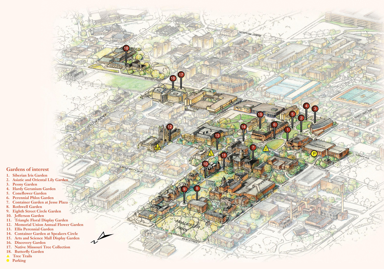 Gardens Tree Trails Maps Points Of Interest Mizzou Botanic Garden University Of Missouri
